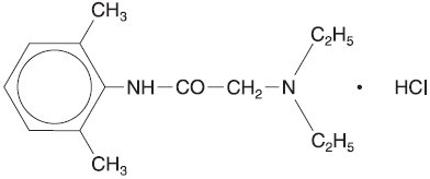 This is an image of the structural formula for lidocaine hydrochloride.