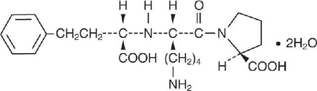 Chemical formula for Lisinopril.