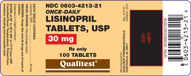 This is an image of the label for 30 mg Lisinopril Tablets, USP.