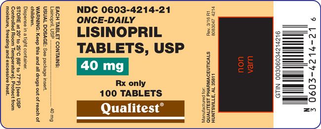 This is an image of the label for 40 mg Lisinopril Tablets, USP.