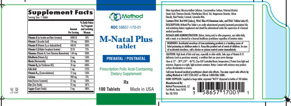 PRINCIPAL DISPLAY PANEL NDC 58657-170-01 M-Natal Plus  tablet PRENATAL/POSTNATAL 100 Tablets Rx Only