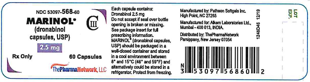 marinol 2.5 mg 60 counts container Label