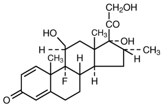 The chemical structure for the active ingredient Dexamethasone