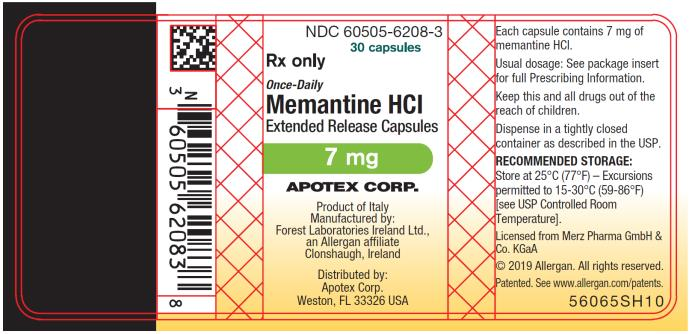 PRINCIPAL DISPLAY PANEL NDC 60505-6208-3 30 capsules Rx Only Once-Daily Memantine HCI  Extended Release Capsules 7 mg