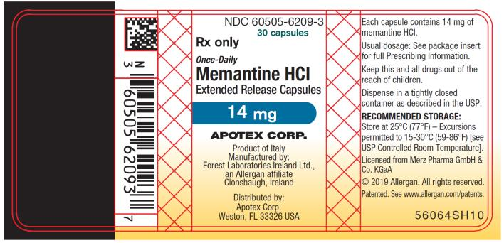 PRINCIPAL DISPLAY PANEL NDC 60505-6209-3 30 capsules Rx Only Once-Daily Memantine HCI  Extended Release Capsules 14 mg