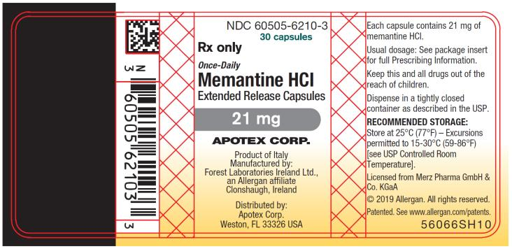 PRINCIPAL DISPLAY PANEL NDC 60505-6210-3 30 capsules Rx Only Once-Daily Memantine HCI  Extended Release Capsules 21 mg
