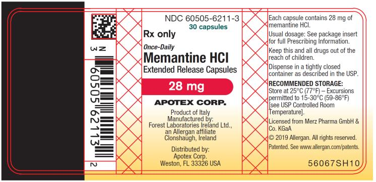 PRINCIPAL DISPLAY PANEL NDC 60505-6211-3 30 capsules Rx Only Once-Daily Memantine HCI  Extended Release Capsules 28 mg