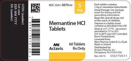 PRINCIPAL DISPLAY PANEL NDC 0591-3870-60 5 mg Memantine HCl Tablets Actavis 60 Tablets Rx Only