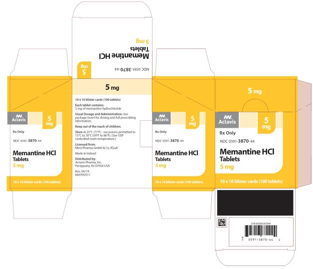 PRINCIPAL DISPLAY PANEL NDC 0591-3870-44 5 mg Memantine HCl Tablets Actavis 10 x 10 blister cards (100 Tablets) Rx Only