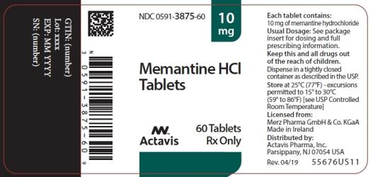 PRINCIPAL DISPLAY PANEL NDC 0591-3875-60 10 mg Memantine HCl Tablets Actavis 60 Tablets Rx Only