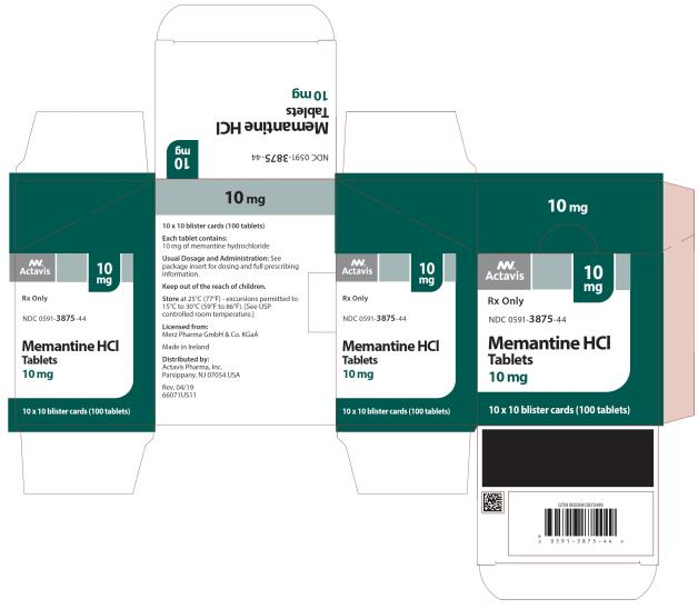 PRINCIPAL DISPLAY PANEL NDC 0591-3875-44 10 mg Memantine HCl Tablets Actavis 10 x 10 blister cards (100 Tablets) Rx Only