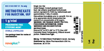 Methotrexate for Injection, USP 1 g/vial Container Label