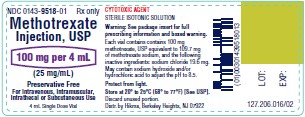 Methotrexate Injection, USP 100 mg/4 mL vial label