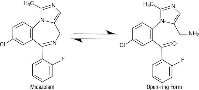Image of Midazolam Present as an Equilibirum Mixture of Closed-Ring and Open-Ring Form