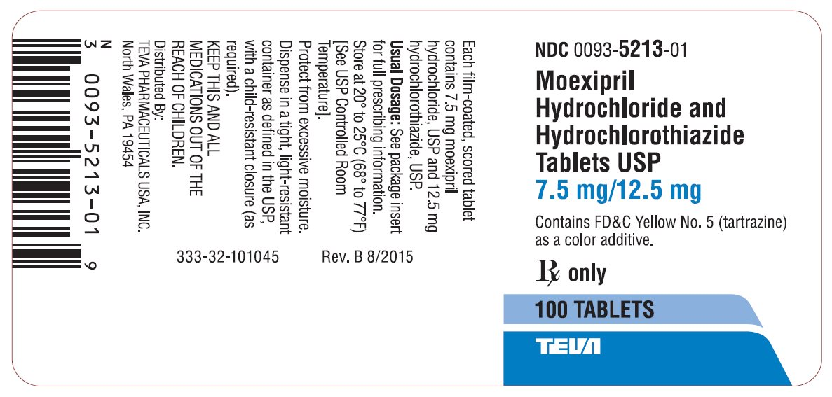 Moexipril Hydrochloride and Hydrochlorothiazide Tablets USP 7.5 mg/12.5 mg 100s Label