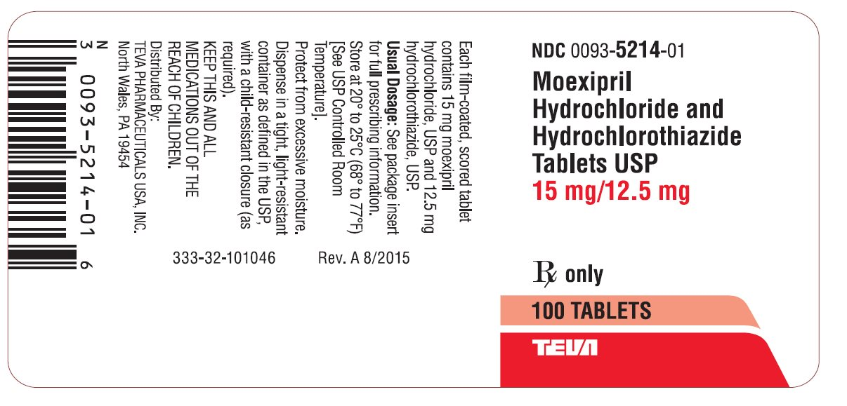 Moexipril Hydrochloride and Hydrochlorothiazide Tablets USP 15 mg/12.5 mg 100s Label