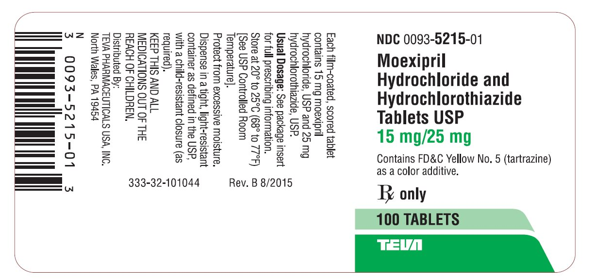 Moexipril Hydrochloride and Hydrochlorothiazide Tablets USP 15 mg/25 mg 100s Label