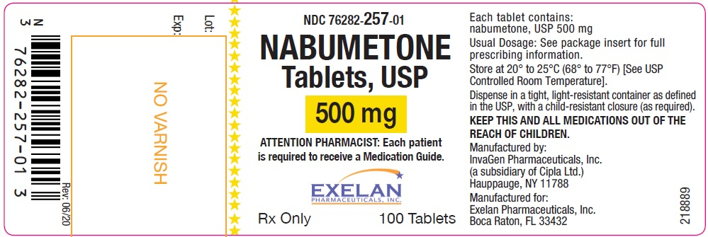Nabumetone tablets, USP, 500 mg, 100 count InvaGen