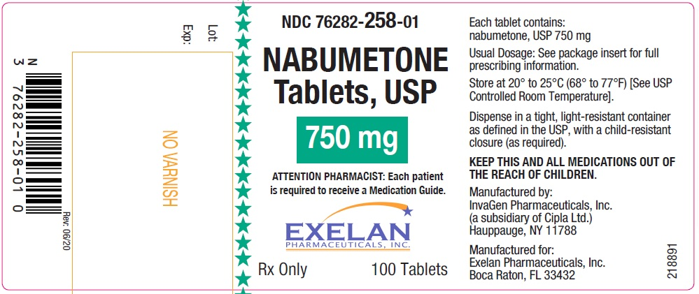 Nabumetone tablets, USP, 750 mg, 100 count InvaGen