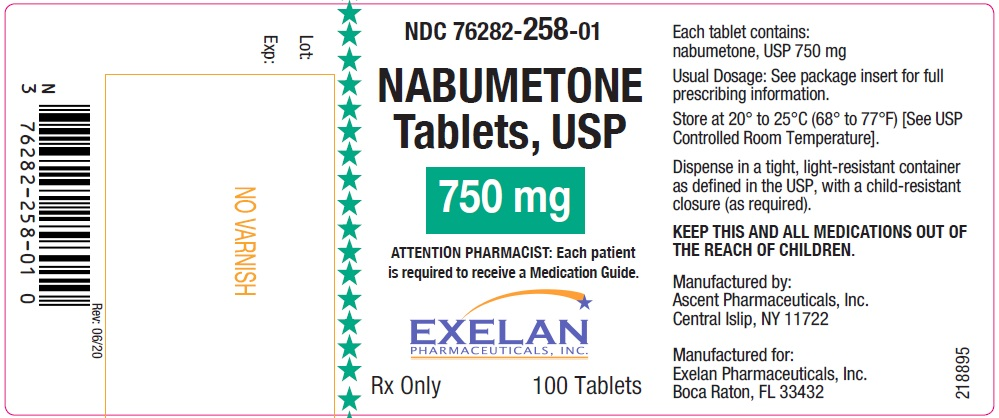 Nabumetone tablets, USP, 750 mg, 100 count Ascent