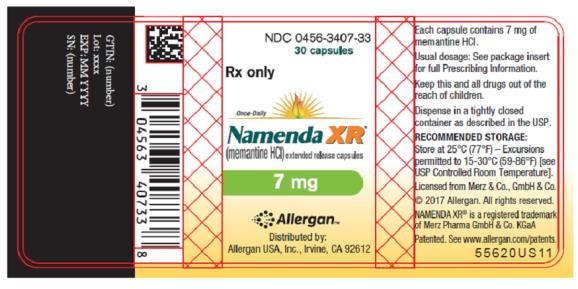 NDC 0456-3407-33 30 capsules Rx only Once-Daily Namenda XR® (memantine HCI) extended release capsules 7 mg