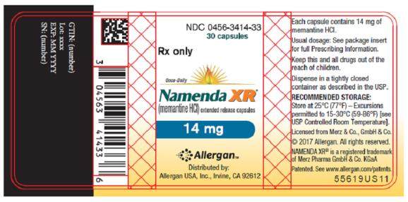 NDC 0456-3414-33 30 capsules Rx only Once-Daily Namenda XR® (memantine HCI) extended release capsules 14 mg