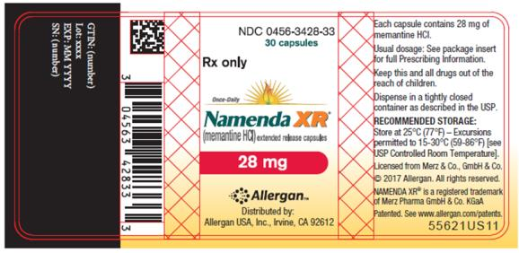 NDC 0456-3428-33 30 capsules Rx only Once-Daily Namenda XR® (memantine HCI) extended release capsules 28 mg