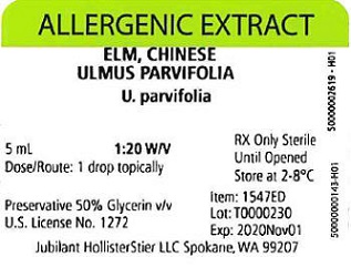 Elm, Chinese, 5 mL 1:20 w/v Vial Label