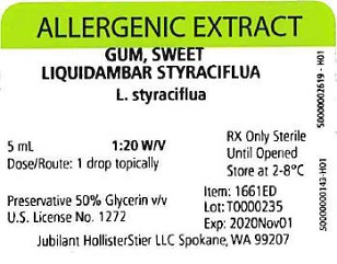 Gum, Sweet, 5 mL 1:20 w/v Vial Label
