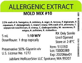 Mold Mix #10, 5 mL 1:10 w/v Vial Label