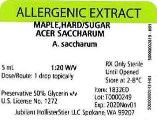 Maple, Hard-Sugar, 5 mL 1:20 w/v Vial Label