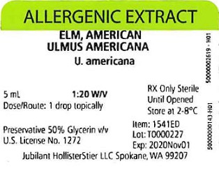 Elm, American, 5 mL 1:20 w/v Vial Label
