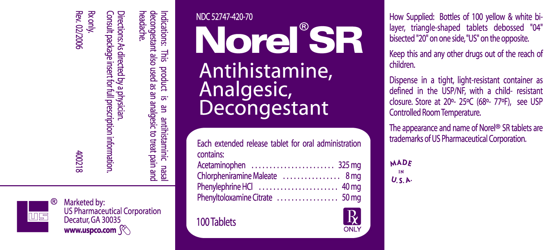 Norel Sr | Antihistamine, Analgesic, Decongestant Tablet, Extended Release Breastfeeding