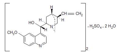 The structural formula for Quinidine sulfate is a specific inhibitor of CYP2D6-dependent oxidative metabolism used in NUEDEXTA to increase the systemic bioavailability of dextromethorphan. The chemical name is quinidine sulfate: cinchonan-9-o1, 6'-methoxy-, (9S) sulfate (2:1), (salt), dihydrate. Quinidine sulfate dihydrate has the empirical formula of (C20H24N2O2)2•H2SO4•2H2O with a molecular weight of 782.96.