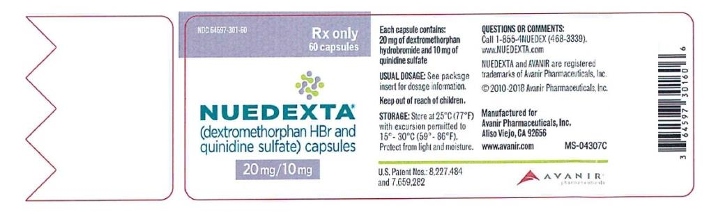 PRINCIPAL DISPLAY PANEL NDC 64597-301-60 NUEDEXTA (dextromethorphan HBr and  quinidine sulfate) capsules 20 mg/ 10 mg 60 capsules Rx Only