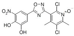 ONGENTYS contains opicapone, a peripheral, selective and reversible catechol-O-methyltransferase (COMT) inhibitor.  The chemical name of opicapone is 2,5-dichloro-3-(5-(3,4-dihydroxy-5-nitrophenyl)-1,2,4-oxadiazol-3-yl)-4,6-dimethylpyridine-1-oxide with the following structure: