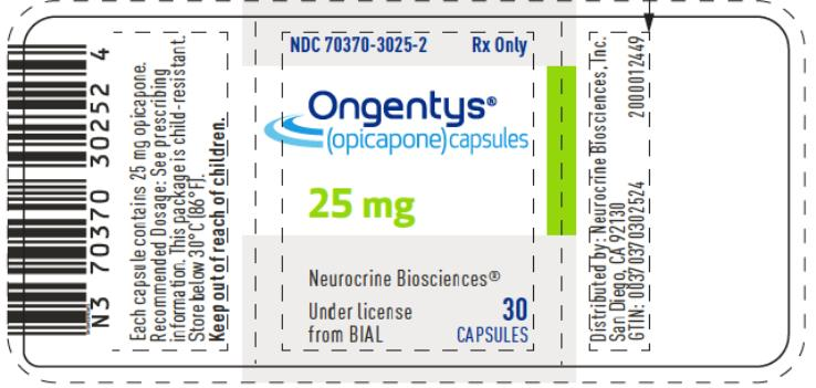 PRINCIPAL DISPLAY PANEL NDC 70370-3025-2 Ongentys® (opicapone) capsules 25 mg 30 Capsules Rx only