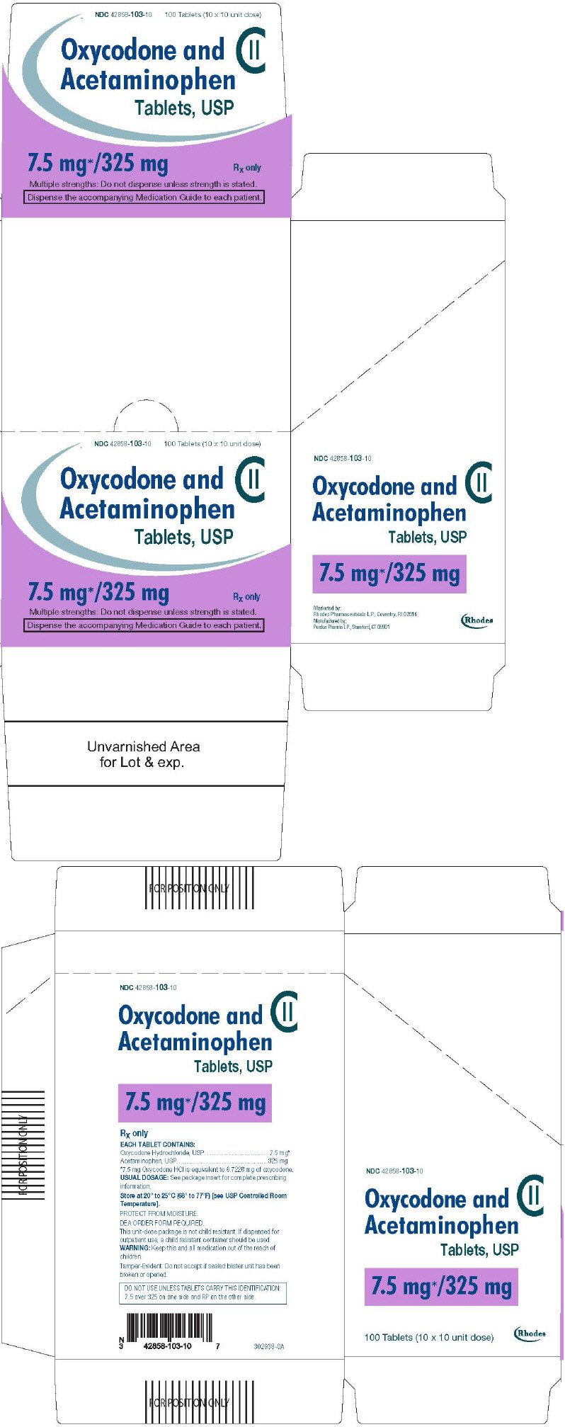 PRINCIPAL DISPLAY PANEL - 7.5 mg/325 mg Tablet Blister Pack Carton
