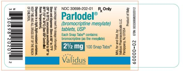 PRINCIPAL DISPLAY PANEL NDC 30698-202-01 Parlodel® (bromocriptine mesylate) tablets, USP 2 ½ mg 100 Snap Tabs® Rx Only