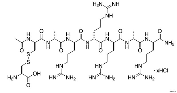 PARSABIV (etelcalcetide) is a synthetic peptide calcium sensing receptor agonist. Etelcalcetide is a white to off white powder with a molecular formula of C38H73N21O10S2•xHCl (4 ≤ x ≤ 5) and a molecular weight of 1047.5 g/mol (monoisotopic; free base). It is soluble in water. The hydrochloride salt of etelcalcetide is described chemically as N acetyl D cysteinyl S (L cysteine disulfide) D alanyl D arginyl D arginyl D arginyl D alanyl D argininamide hydrochloride.