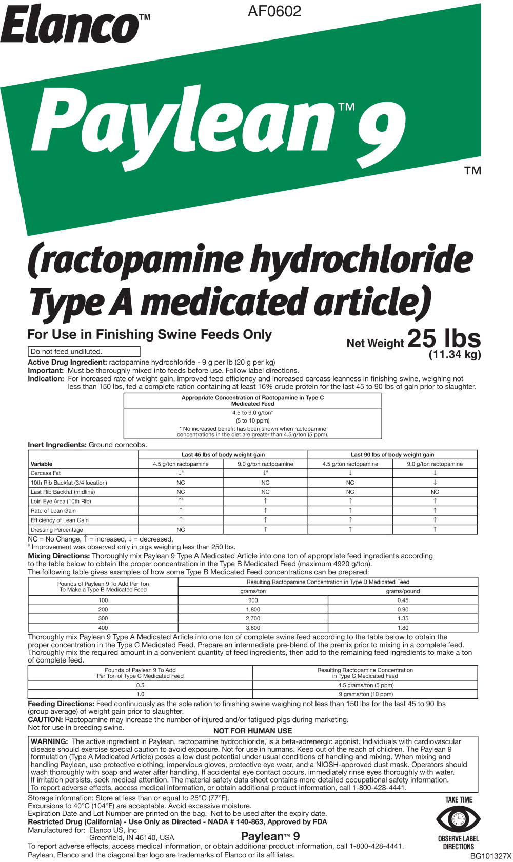 Principal Display Panel – 25 lbs Bag Label
