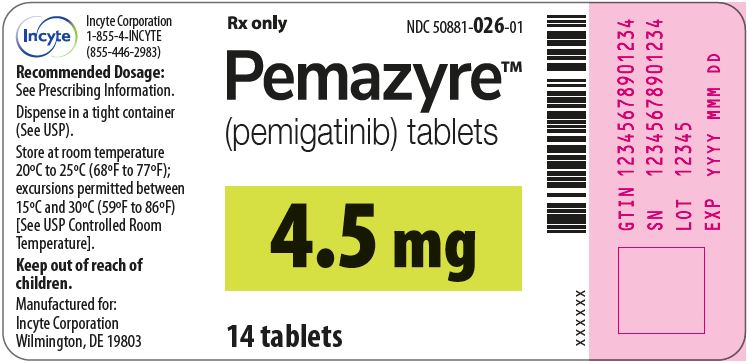 Pemazyre (pemigatinib) 4.5mg Tablets - 14 Tablet Bottle Label