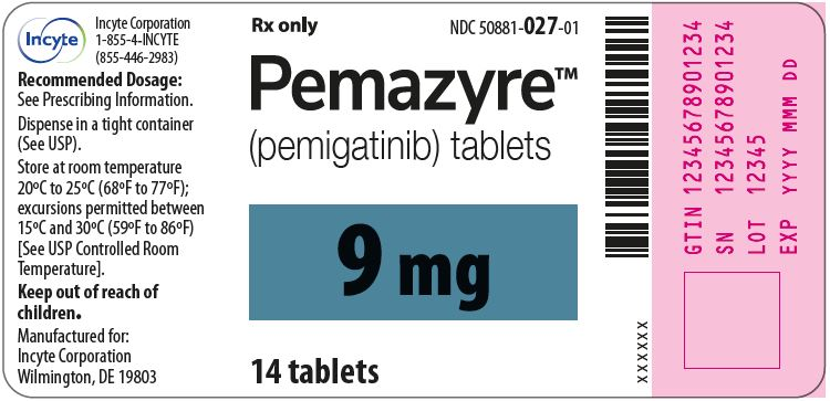 Pemazyre (pemigatinib) 9mg Tablets - 14 Tablet Bottle Label