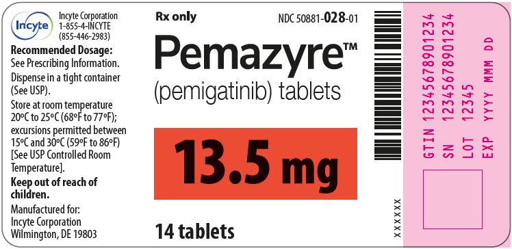 Pemazyre (pemigatinib) 13.5mg Tablets - 14 Tablet Bottle Label