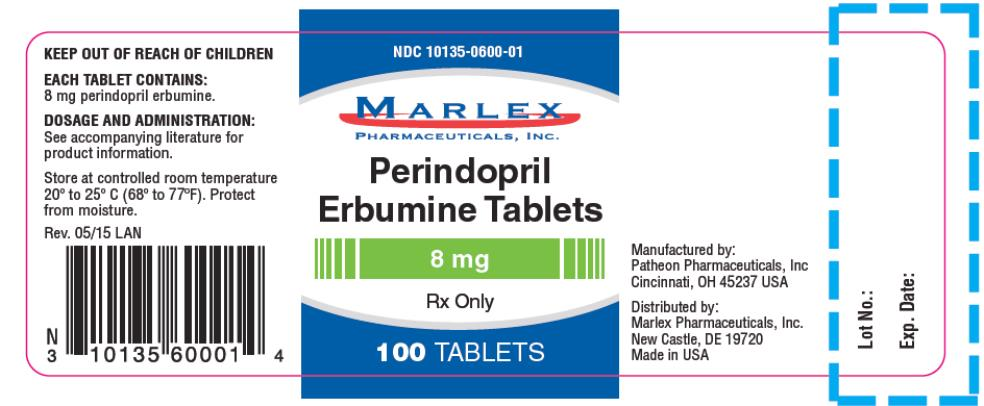 PRINCIPAL DISPLAY PANEL NDC 10135-0600-01 Perindopril Erbumine Tablets 8 mg Rx Only 100 TABLETS