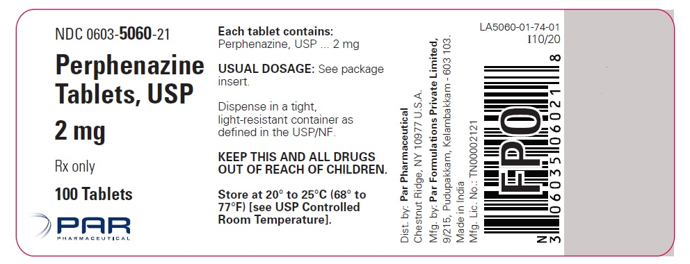 Image of the 100ct label for Perphenazine Tablets, USP 4 mg