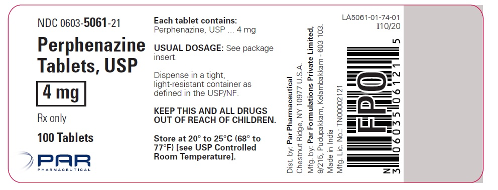 Image of the 100ct label for Perphenazine Tablets, USP 16 mg