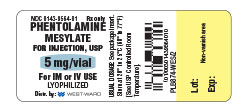NDC 0143-9564-01 Rx only Phentolamine Mesylate for Injection, USP 5 mg/vial FOR IM OR IV USE LYOPHILIZED USUAL DOSAGE: See package insert Store at 20º to 25ºC (68º to 77ºF) [ See USP Controlled Room Temperature].