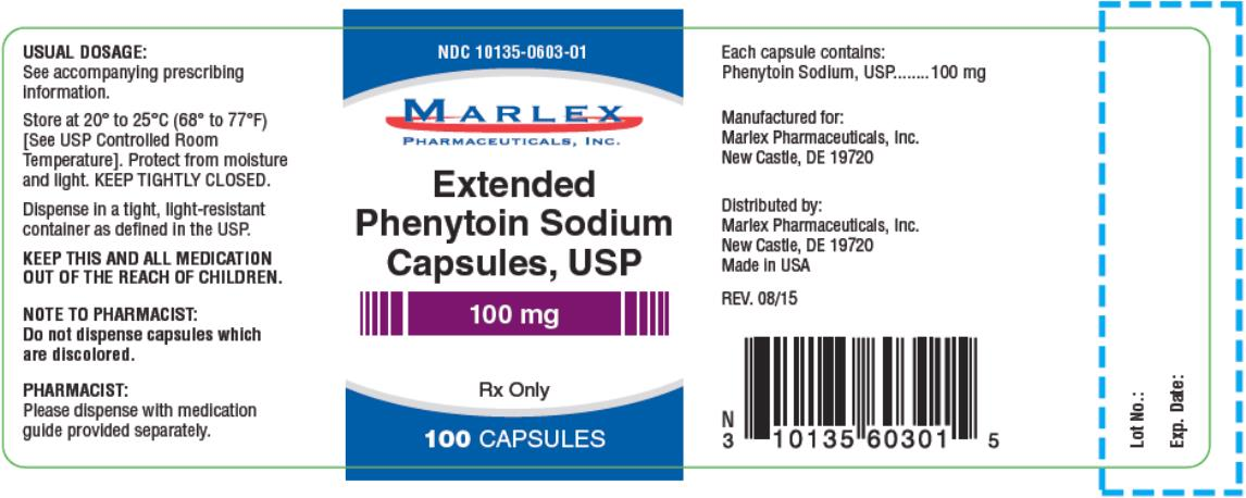 PRINCIPAL DISPLAY PANEL NDC 10135-0603-01 Extended Phenytoin Sodium Capsules, USP 100 mg