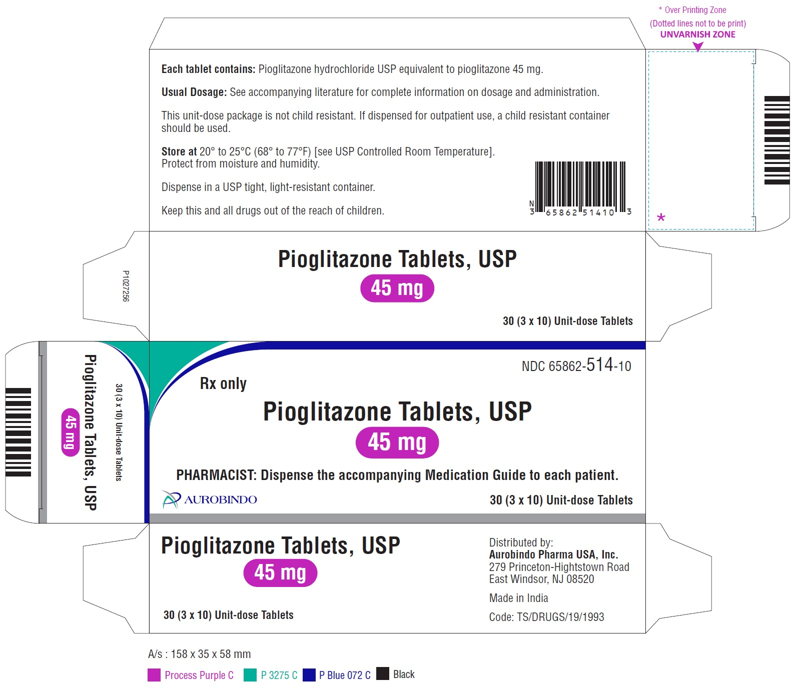 PACKAGE LABEL-PRINCIPAL DISPLAY PANEL - 45 mg Blister Carton (3 x 10 Unit-dose)